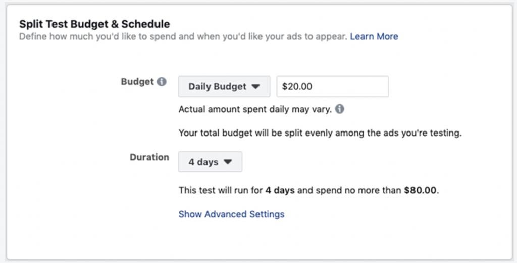 Split budget facebook